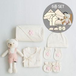 [무료배송/선물박스증정] 오가닉여아임신축하선물세트(의류5종+꼬마곰인형)