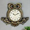 (kspz196)저소음 체리 나무부엉이 시계 골드