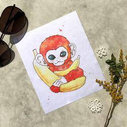 붉은 원숭이 일러스트 안경닦이