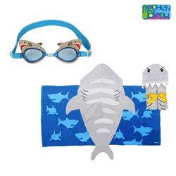 후드비치타올 + 자외선 차단 물안경 SET - 상어