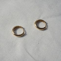 14k gold big simple ring earring-1