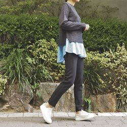 [츄츄츄 츄즈미] 셔츠배색 라운드 스웨터