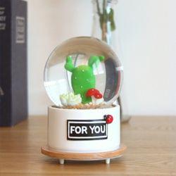 led 무드등 스노우볼 멜로디 뮤직박스 - 선인장2