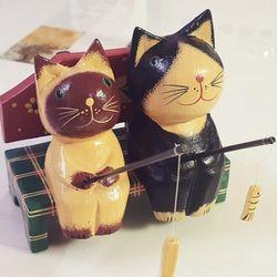 고양이장식품 큐티 낚시하는고양이