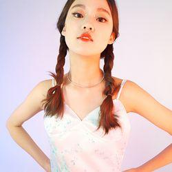 Floral Pattern Silk Bra Top