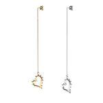 Lover Heart Drop Single Earring Silver