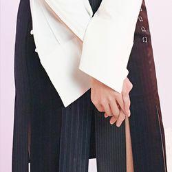 patchwork black slit skirt