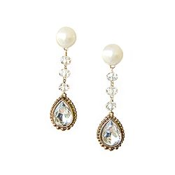 엔틱 화이트 드롭- Crystal Evening Earrings