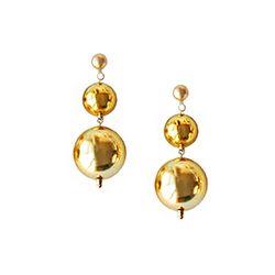 Merry Gold Shine Ball Earrings (Short)