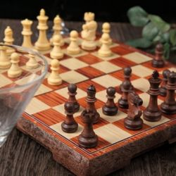 휴대용 접이식 고급 원목 자석 체스판 L