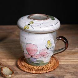 꽃과나비 뚜껑 다기 머그컵