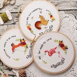 프랑스자수 DIY 패키지세트 귀여운 동물 3종 택1