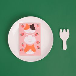 블링블링 식빵뚱냥 반짝이는 펄 엽서 -딸기