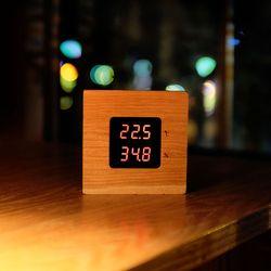 원목 LED 정밀 온습도계