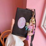 [클리어런스] 무지개 유니콘 키링+유니콘 밸크로 지갑 (블랙)