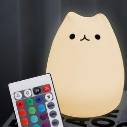 말랑 고양이 LED 터치 무드램프 (리모콘 포함) 아답터