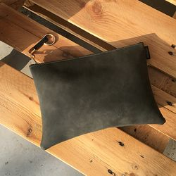 Square Clutch -  Square Clutch - charcoal gray