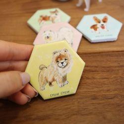 강아지 펫 타일 육각 마그넷(단품) 강아지자석