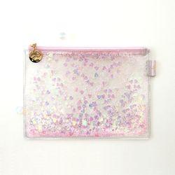 [클리어런스] 클루 에뜨왈 피치 블라썸 벚꽃 투명 파우치 (핑크)