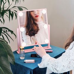 LED 조명 화장 거울 마이스위트데이 핑크