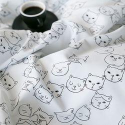 고양이 마이크로세미 차렵침구-Q세트