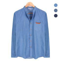 체크 패턴 배색 데님 블루 셔츠NWM002Blue