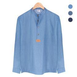 핸리넥 데님 블루 셔츠 NWM004Blue
