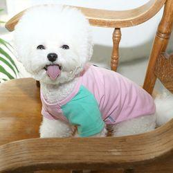 강아지 자수 배색 주머니 니들포인트 티셔츠 c3