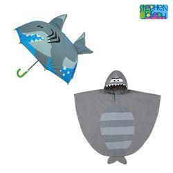 레인 후드판초 + 3D 입체 팝업우산 - 상어