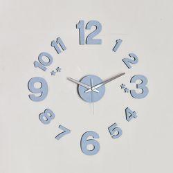 블루인테리어 DIY 무소음벽시계 모던 파스텔블루