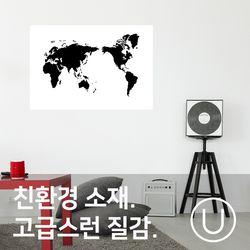 [유니크]세계지도 포스터 스티커 그래픽 블랙