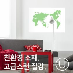 [유니크]세계지도 포스터 스티커 도트 그린