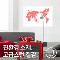 [유니크]세계지도 포스터 스티커 도트 레드