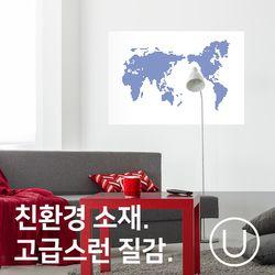 [유니크]세계지도 포스터 스티커 도트 블루