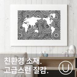 [유니크]세계지도 포스터 스티커 아라베스크 리벌스