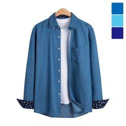 소매 패턴 포켓 데님 셔츠 SHT231