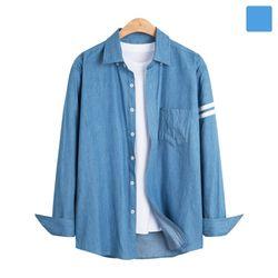 화이트 투라인 포켓 데님 셔츠 SHT266