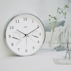 루나화이트메탈무소음온습도벽시계