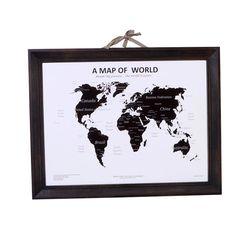 우드프레임 인테리어 세계지도-블랙