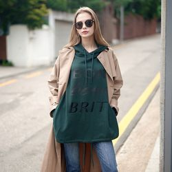 EMBROIDERY LETTERING HOOD T-SHIRT GREEN