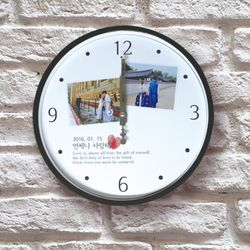 포토 이니셜 무소음 지문하트 아크릴벽시계