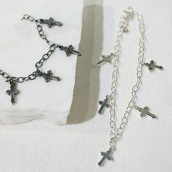 실버 로맨틱 십자가 체인 팔찌