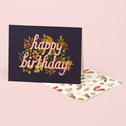 BOTANIC BIRTHDAY CARD NAVY