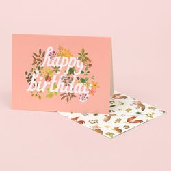 BOTANIC BIRTHDAY CARD PINK