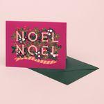 NOEL CHRISTMAS CARD FOR HOLIDAYS RASPBERRY