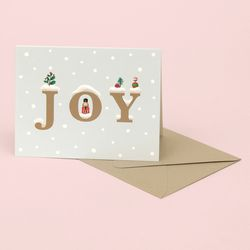 JOY CHRISTMAS CARD FOR HOLIDAYS SNOW