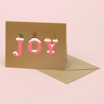 JOY CHRISTMAS CARD FOR HOLIDAYS GOLD
