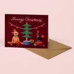 VINTAGE TOYS CHRISTMAS CARD