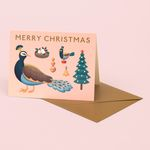 PEACOCK MERRY CHRISTMAS CARD