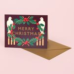 HOLLY AND BIRDS MERRY CHRISTMAS CARD